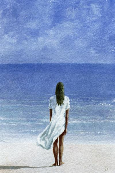 Girl on beach, 1995 (watercolour on paper)