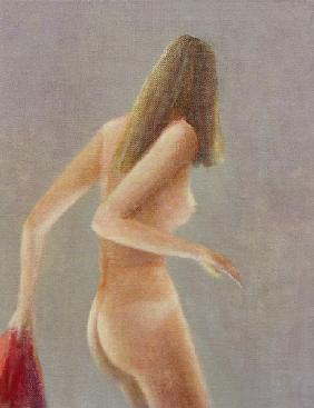 Girl with Red Towel, 1985 (acrylic on canvas)