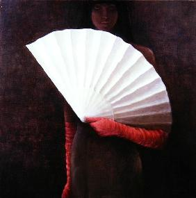 Girl with White Fan (oil on canvas)