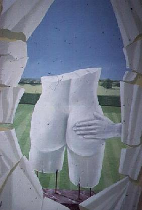 Groping Statues (acrylic on canvas)