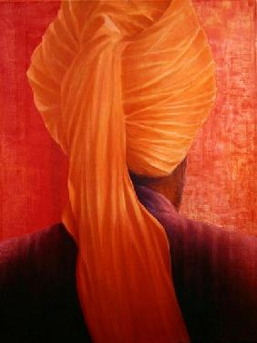 Orange Turban on Red (oil on canvas)