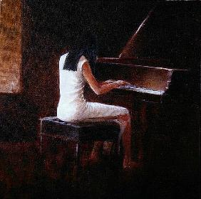 Pianist, Hanoi (oil on canvas)