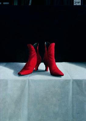 Red Boots, 1995 (acrylic on board)