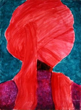 Red Turban 5 (acrylic on paper)