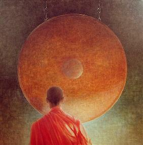 Young Monk with Gong (oil on canvas)