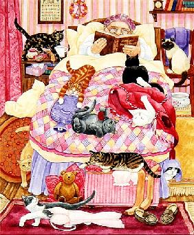 Grandma and 10 cats in the bedroom