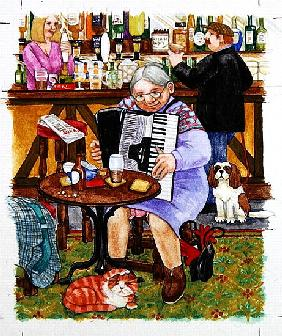 Grandma and a cats and an accordion
