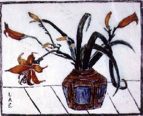 The Ginger Jar (colour linocut)