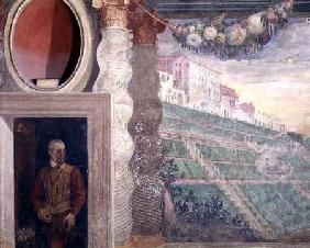 The main salon, detail of decoration depicting the Villa d'Este and a man in a doorway 1550