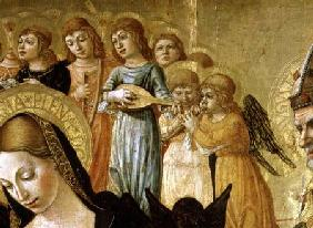 The Marriage of St. Catherine of Siena, detail of the head of the Virgin and musical angels c.1481-150