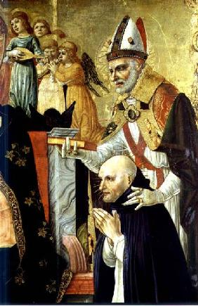 The Marriage of St Catherine of Siena, detail of St. Augustine and Dominican Beatus c.1481-150