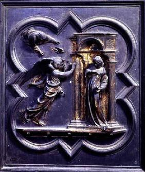 The Annunciation, first panel of the North Doors of the Baptistery of San Giovanni 1403-24
