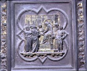 Pontius Pilate Washing his Hands before Christ, sixteenth panel of the North Doors of the Baptistery 1403-24