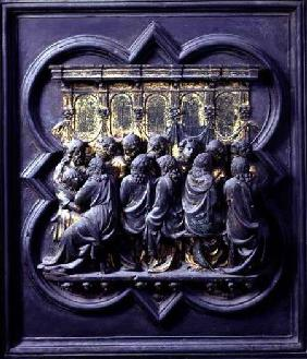 The Last Supper, twelfth panel of the North Doors of the Baptistery of San Giovanni 1203-24