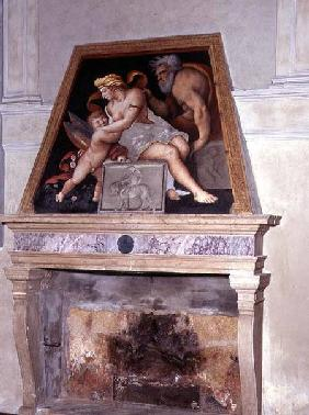 Venus, Vulcan and Cupid, fresco above a fireplace