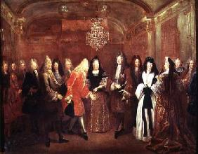 Louis XIV (1638-1715) welcomes the Elector of Saxony, Frederick Augustus II (1670-1733) to Fontaineb 1715
