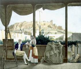 The French Consul, Monsieur Fauvel, on the terrace of his house in Athens, engraved by the Thierry B 1825