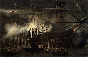 Kunstdruck von Louis Gabriel Eugène Isabey - The Shipment of Napoleon's Ashes Aboard the 'Belle-Poule' at Saint Helena, 15th October 1840