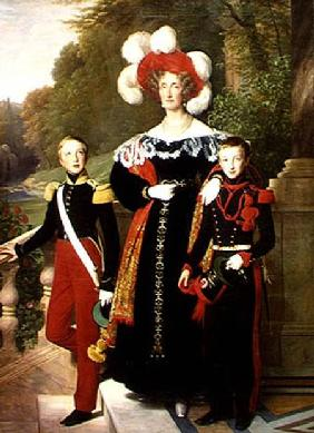 Marie Amelie of Bourbon-Sicile (1782-1866) and her sons, Henri of Orleans (1822-97) Duke of Aumale a 1835