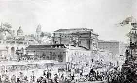 Antiquities found at Herculaneum being transported to the Naples Museum, c.1782 (pen, ink & watercol