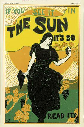 Poster advertising 'The Sun' newspaper 1895