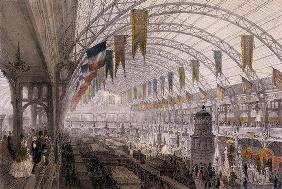 Interior view of the Palais de l'Industrie at the Exposition Universelle in 1855 (colour litho) 13th