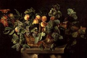 Still Life with Peaches and Grapes 1636
