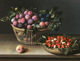 Basket of Plums and Basket of Strawberries 1632