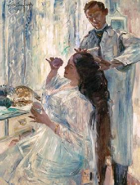 Kunstdruck von Lovis Corinth - Die Frau des Künstlers am Frisiertisch.
