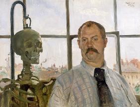 Kunstdruck von Lovis Corinth - Selbstbildnis mit Skelett