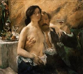 Kunstdruck von Lovis Corinth - Selbstbildnis mit seiner Frau und Sektglas.