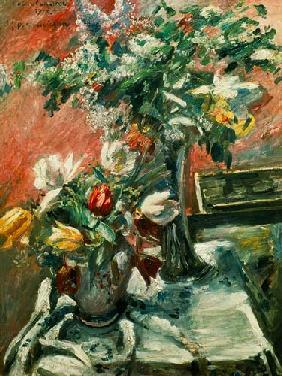 Kunstdruck von Lovis Corinth - Blumenstillleben, Flieder und Tulpen