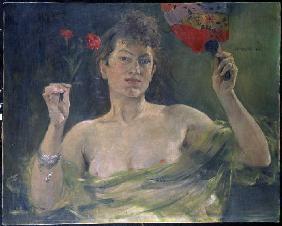 Kunstdruck von Lovis Corinth - Dame mit Fächer