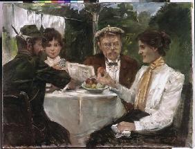 Kunstdruck von Lovis Corinth - Frühstück in Max Halbes Garten