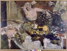 Kunstdruck von Lovis Corinth - Großes Stillleben mit Figur, Geburtstagsbild.