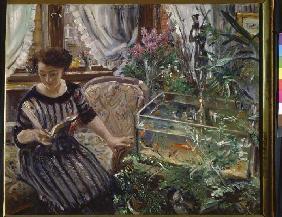 Kunstdruck von Lovis Corinth - Lesende Frau am Goldfischbassin
