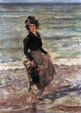 Kunstdruck von Lovis Corinth - Mädchen am Strand.