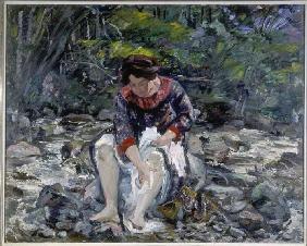 Kunstdruck von Lovis Corinth - Mädchen im Waldbach (Charlotte Corinth)