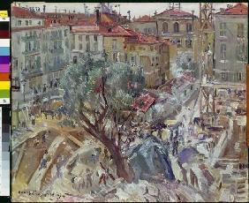 Kunstdruck von Lovis Corinth - Neubau in Monte Carlo.