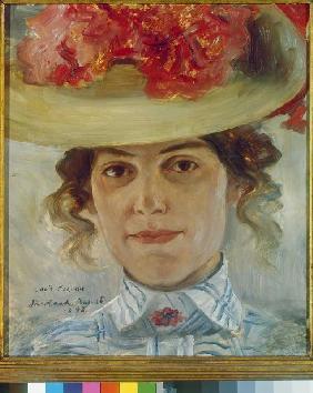 Kunstdruck von Lovis Corinth - Portrait Frau Halbe mit Strohhut.