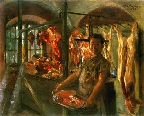 Kunstdruck von Lovis Corinth - Schlachterladen in Schäftlarn an der Isar