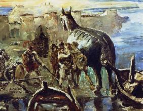 Kunstdruck von Lovis Corinth - Das Trojanische Pferd.