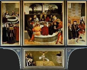 Triptych, left panel, Philipp Melanchthon performs a baptism assisted by Martin Luther; centre panel 1547