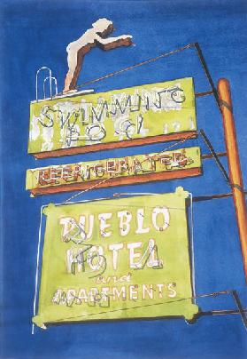 Pueblo Hotel, 2001 (w/c on paper)