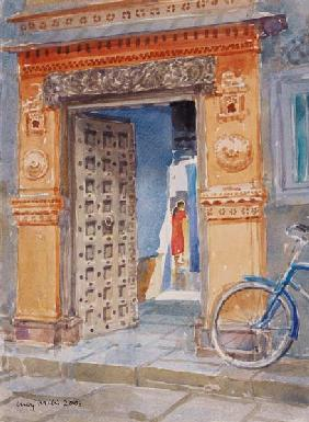 In the Old Town, Bhuj, 2003 (w/c on paper)