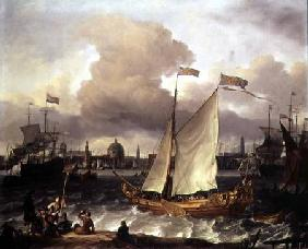 The Swedish Yacht 'Lejouet', in Amsterdam Harbour 1674