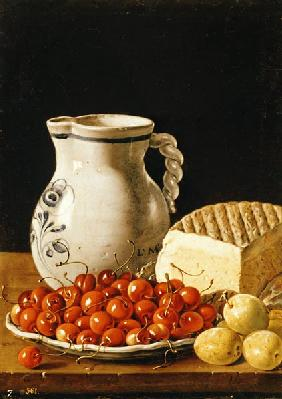 Still Life with cherries, cheese and greengages