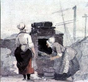 Two Women at an Oven