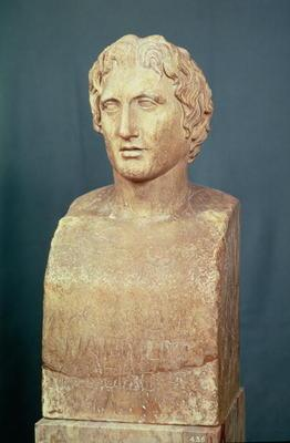 Portrait bust of Alexander the Great (356-323 BC) known as the Azara herm, Greek replica of 4th cent 1803