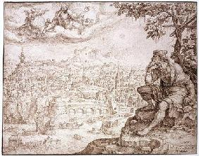 Jonah, Seated Under the Gourd, Contemplates the City of Nineveh 1566  & br